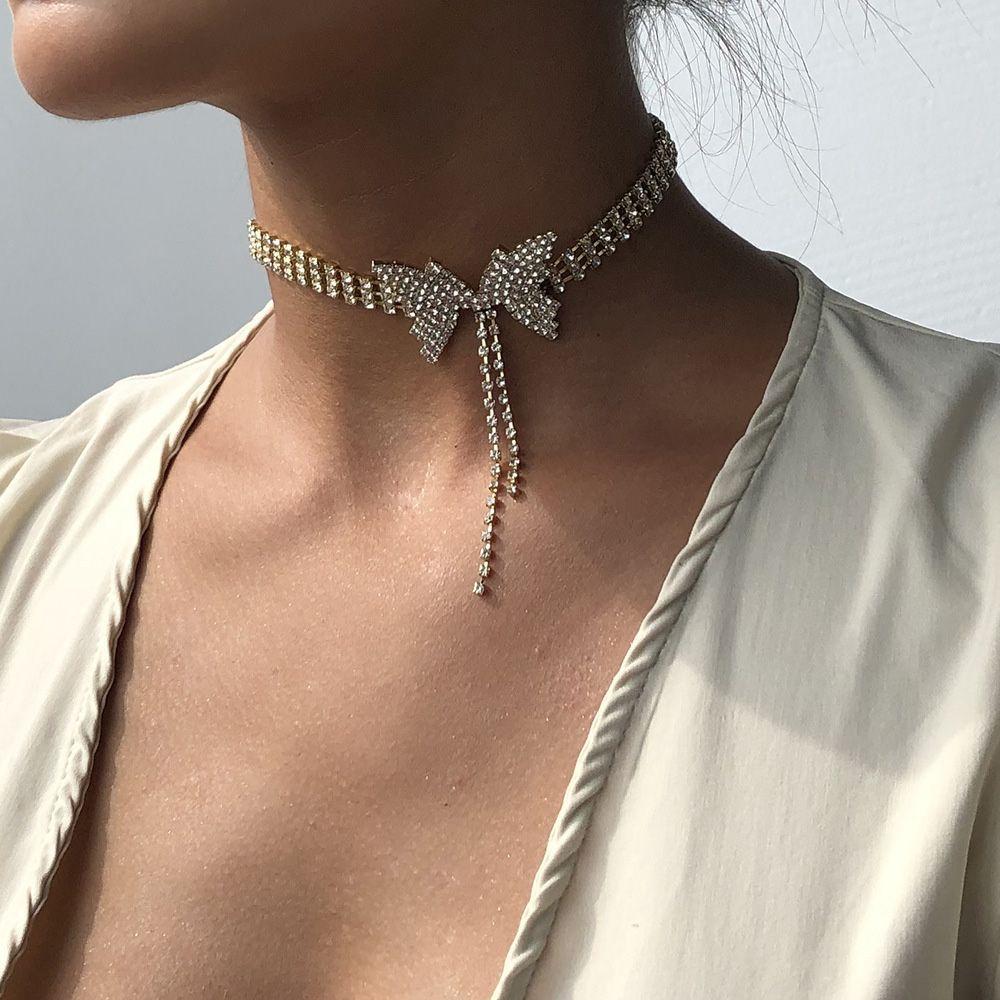 ookjewelry wholesale Butterfly Rhinestone Tassel Chokers Necklace