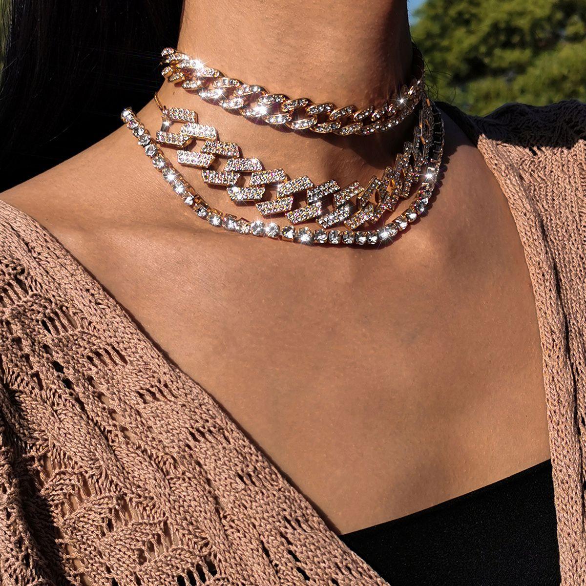 ookjewelry wholesale Multi-layer Full Diamond Necklace Chokers