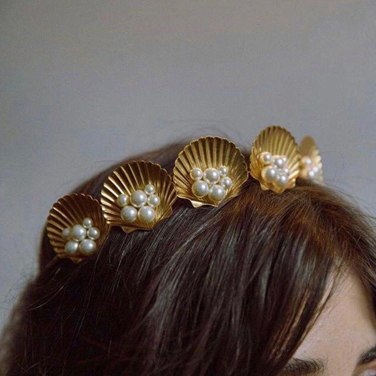 ookjewelry wholesale Shell & Pearl Decor Hair Hoop