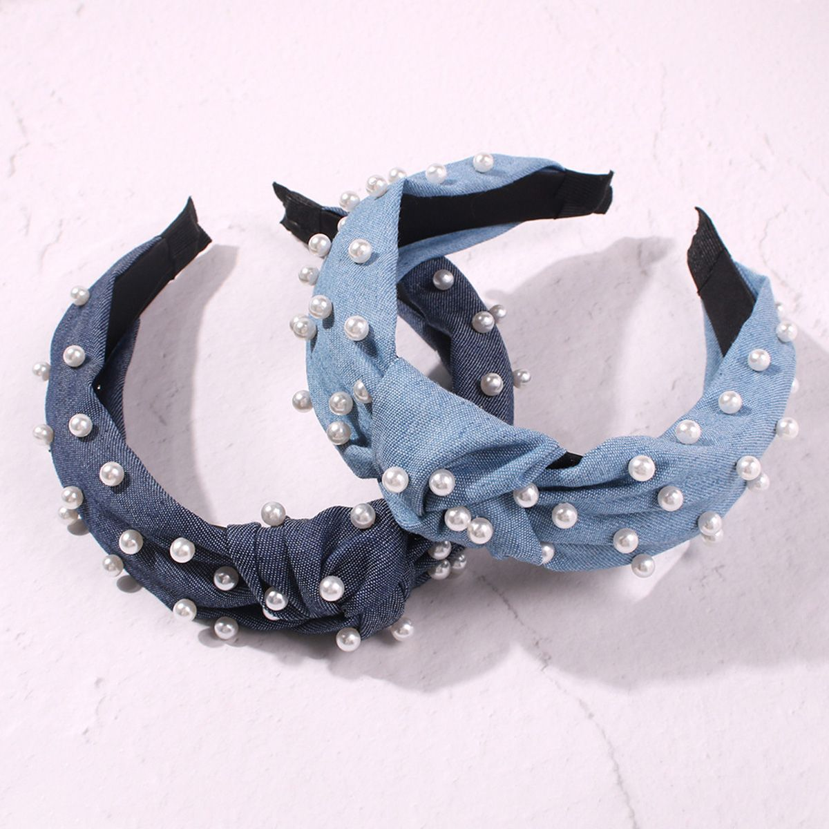 ookjewelry wholesale Personalized Denim Pearl Hair Bands