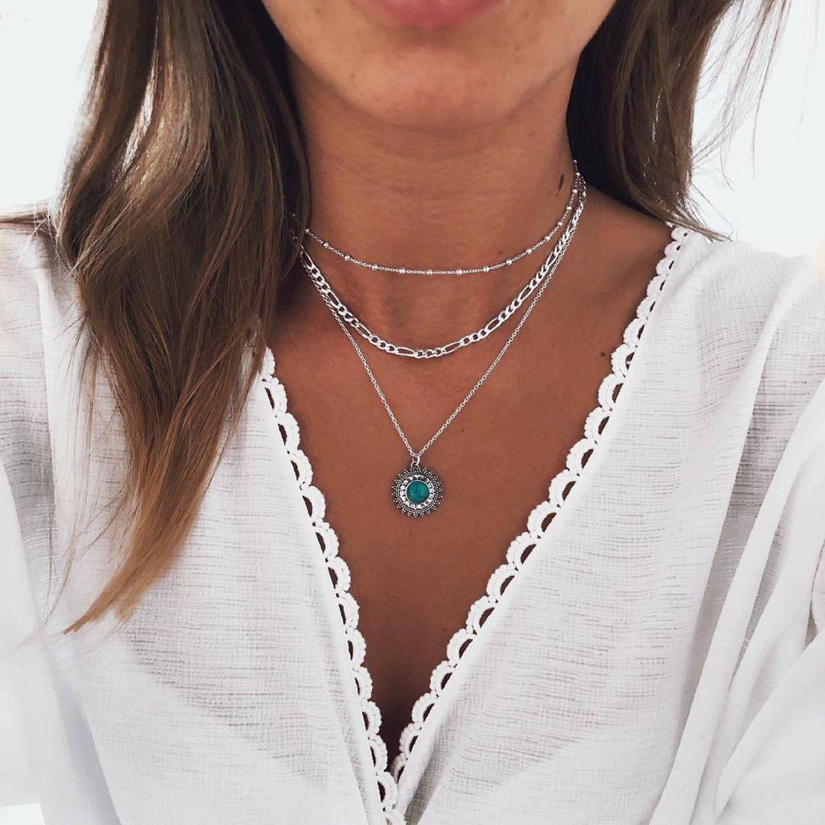 Bohemian Style Pendant Bead Necklace