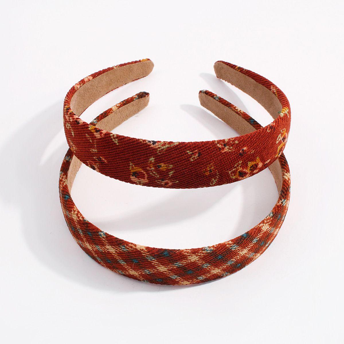 ookjewelry wholesale Retro Plaid & Flower Corduroy Headbands