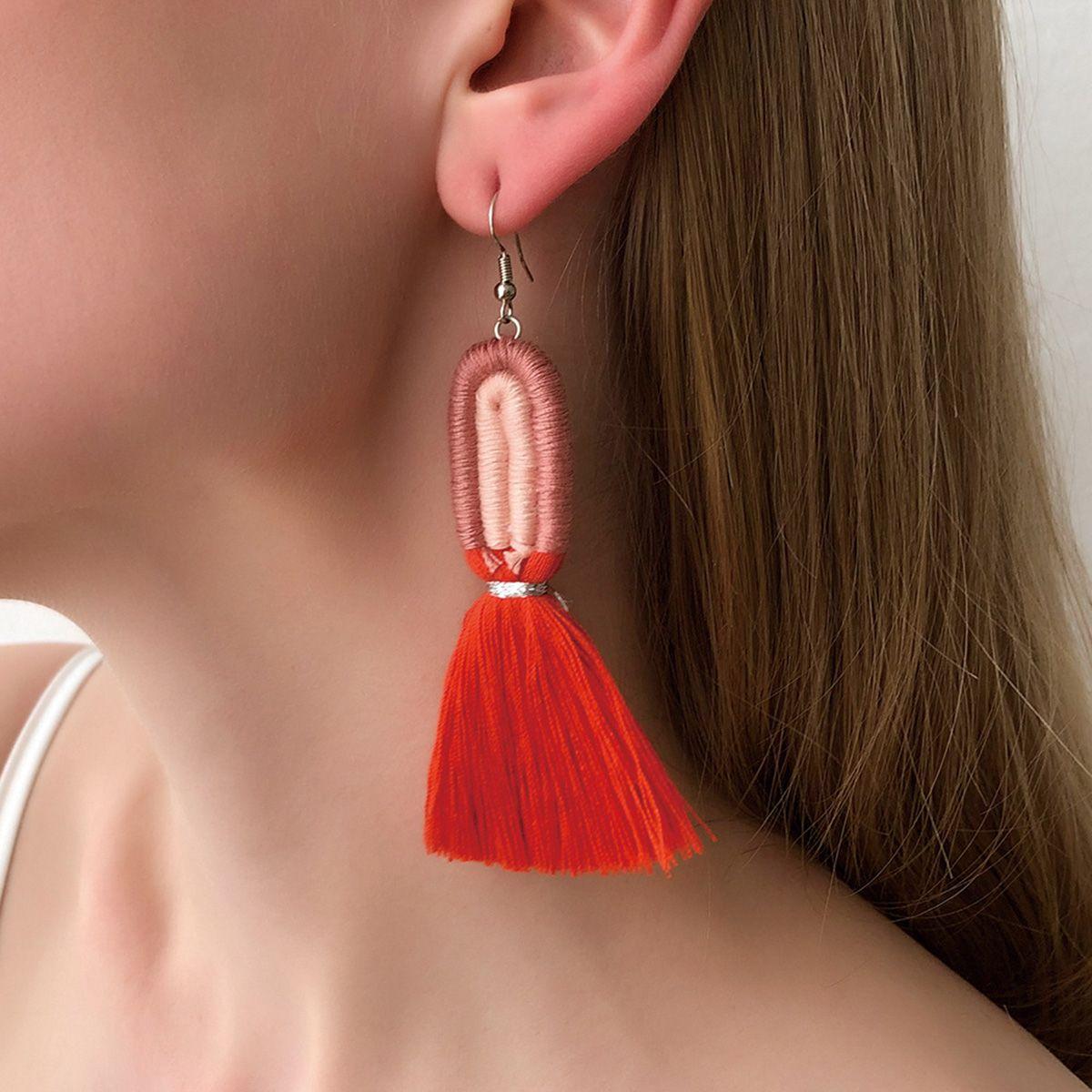 Bohemian Oval Braided Rope Tassel Earrings
