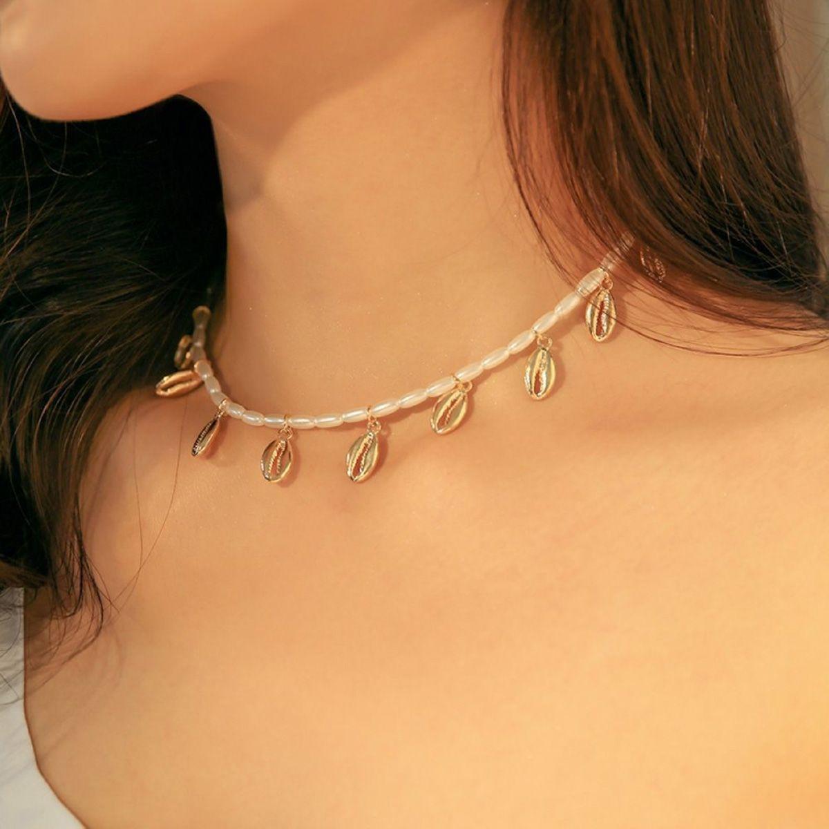 ookjewelry wholesale Shell Tassel Pearl Necklace