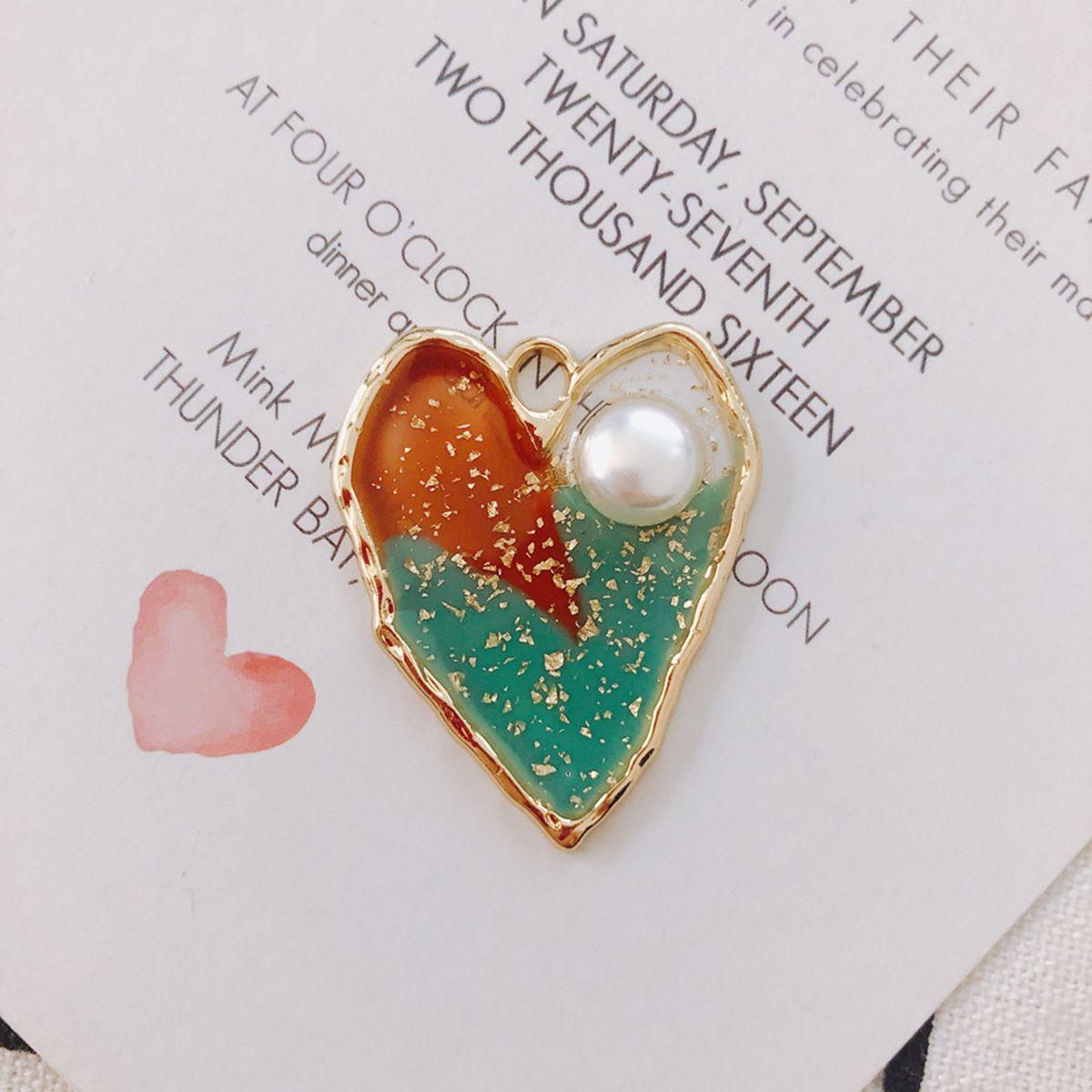 20 Pack Love Heart Enamel Pearl Decor Charm