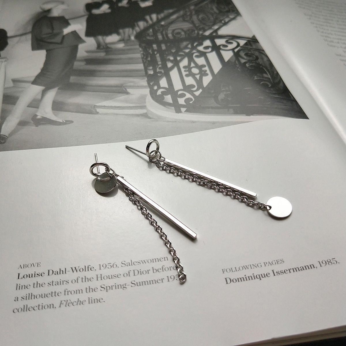 ookjewelry wholesale Asymmetrical Chain Round Drop Earrings