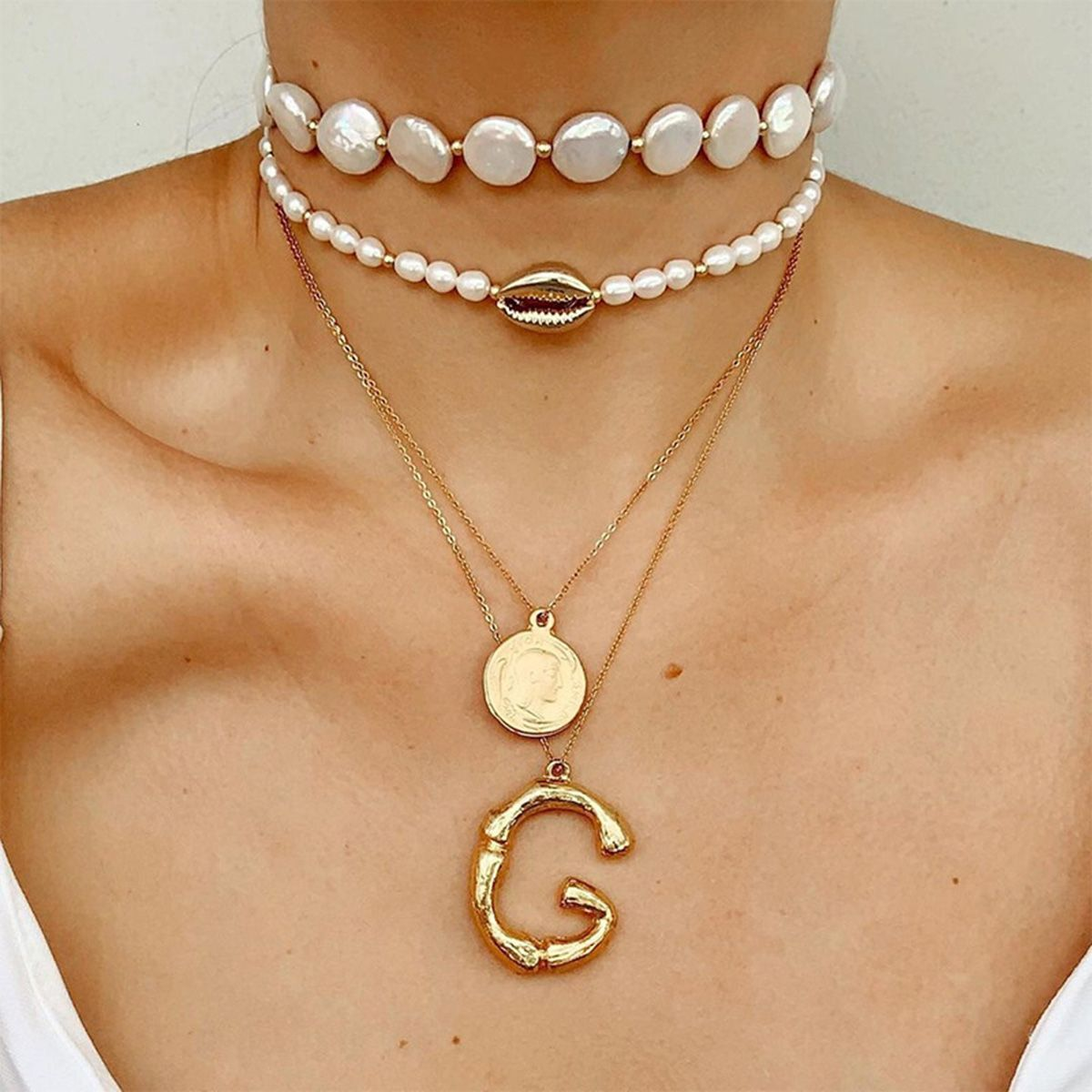 ookjewelry wholesale Letter Coin Shell Pendant Pearl Necklace