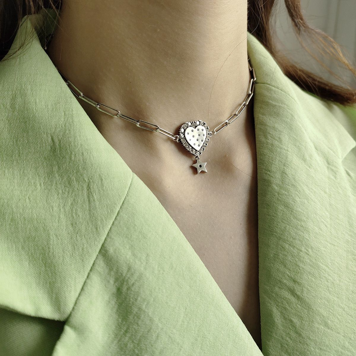 ookjewelry wholesale Heart-shaped Star Pendant Chain S925 Silver Chokers