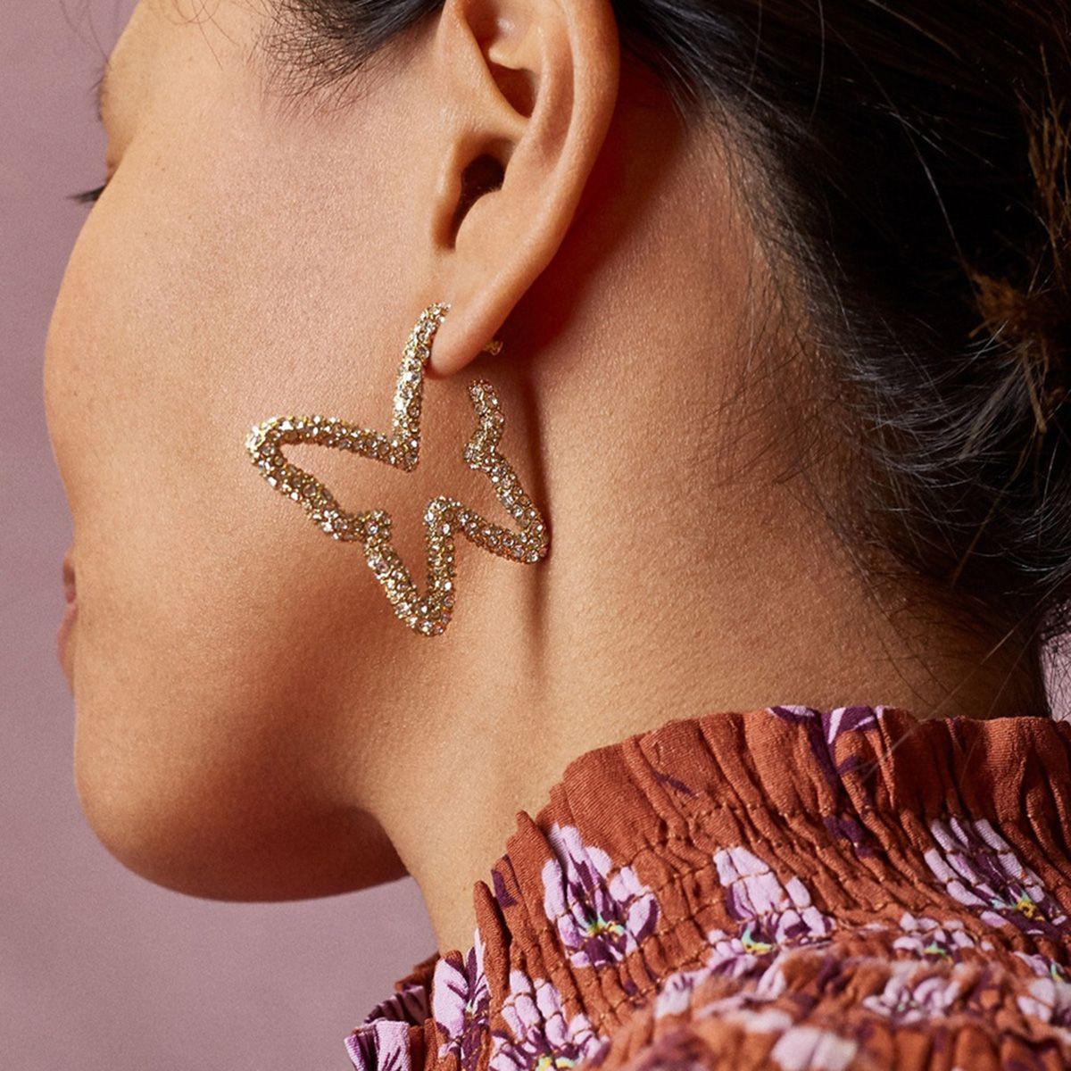 Simple Butterfly Cutout Diamond Earrings